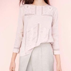 J. Crew 6 Embroidered Lace Top Blouse Pink Cotton